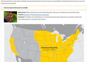 Ticks in the US - CDC Map